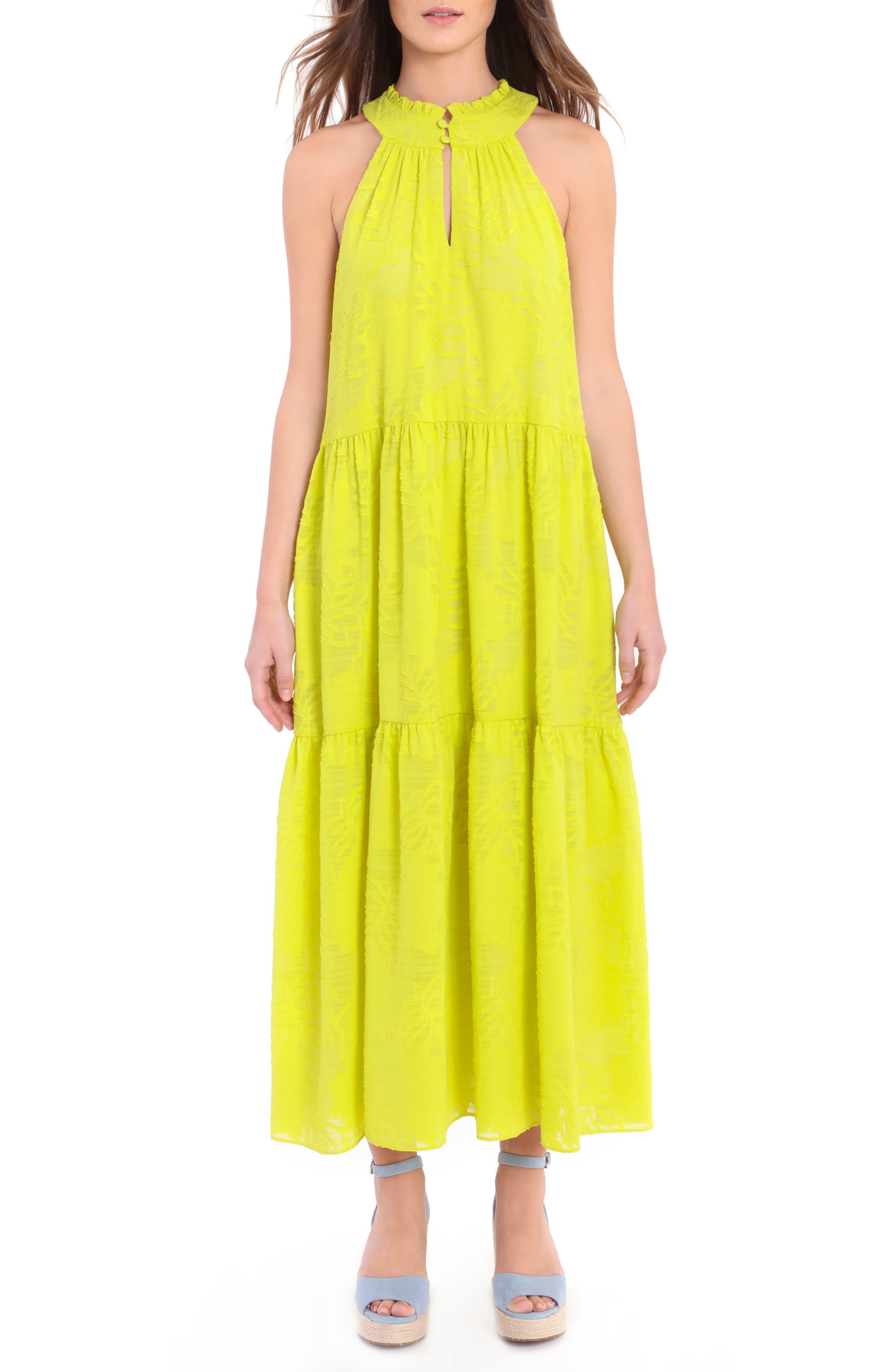 Halter Neck Burnout Chiffon Tiered Maxi Dress
