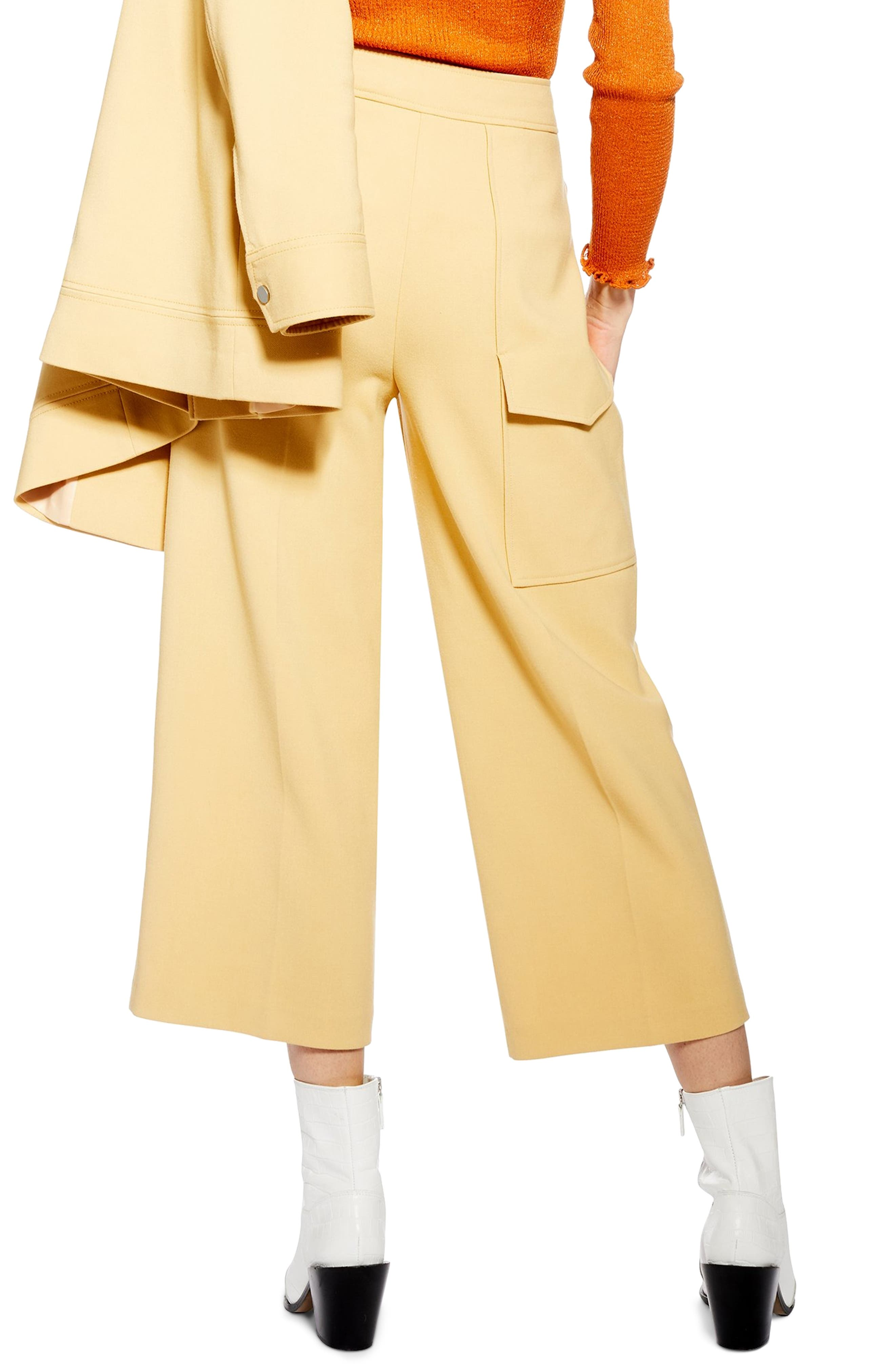 ,                             Bonded Wide Leg Cropped Trousers,                             Alternate thumbnail 2, color,                             LIGHT YELLOW