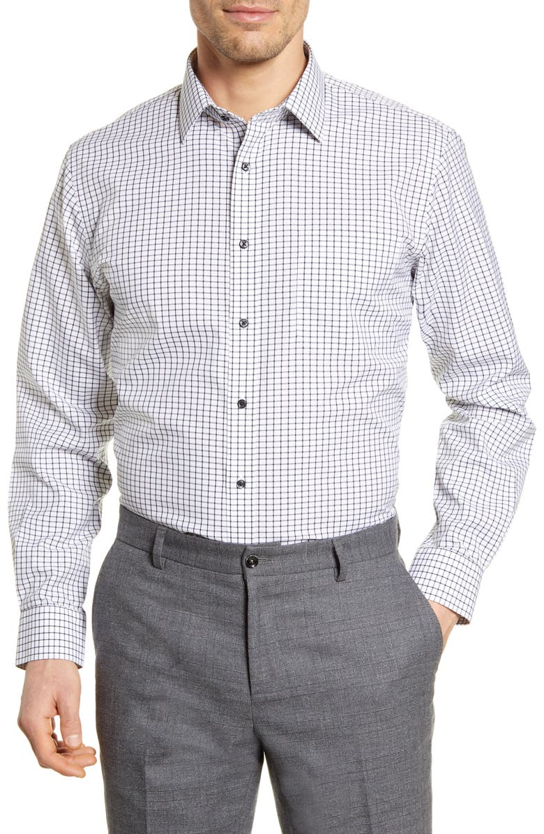 NORDSTROM MEN'S SHOP Smartcare<sup>™</sup> Traditional Fit Check Dress Shirt, Main, color, BLACK JET