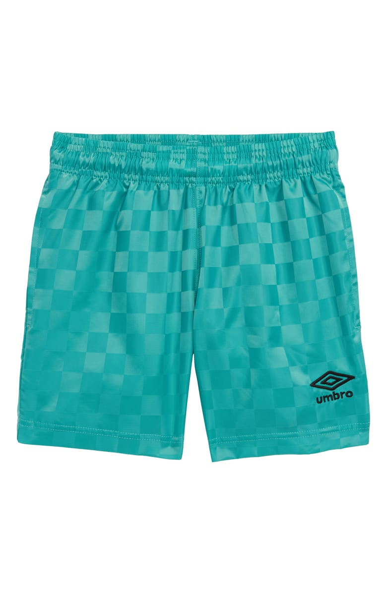 UMBRO Checkerboard Shorts, Main, color, MINT/ BLACK BEAUTY