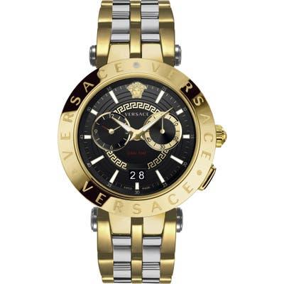 Versace V-Race Dual Time Bracelet Watch, 4m