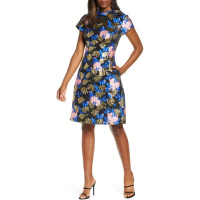 Mark + James Badgley Mischka Metallic Floral Jacquard Fit & Flare Dress, Black