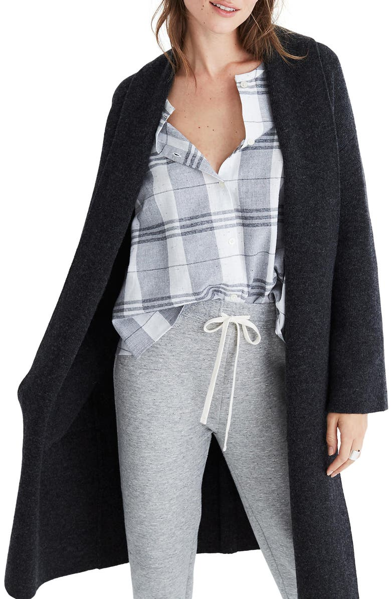 MADEWELL Rivington Shawl Collar Merino Wool Sweater Coat, Main, color, 021
