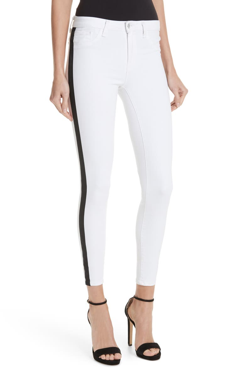L'AGENCE Margot Side Stripe Crop Skinny Jeans, Main, color, 100