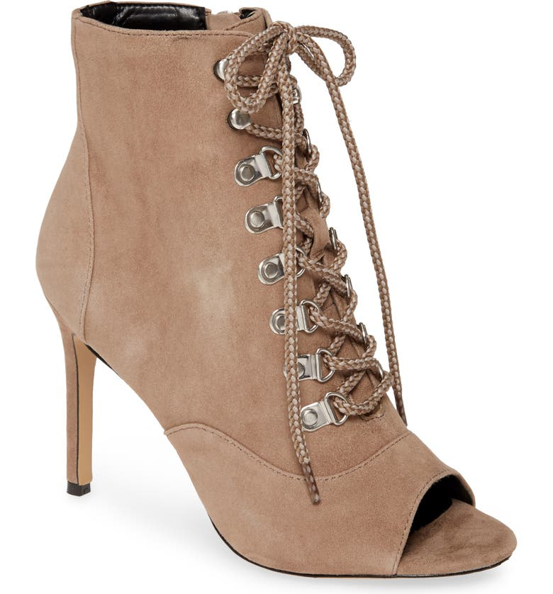 CHARLES DAVID Charlye Lace-Up Peep Toe Bootie, Main, color, TRUFFLE SUEDE
