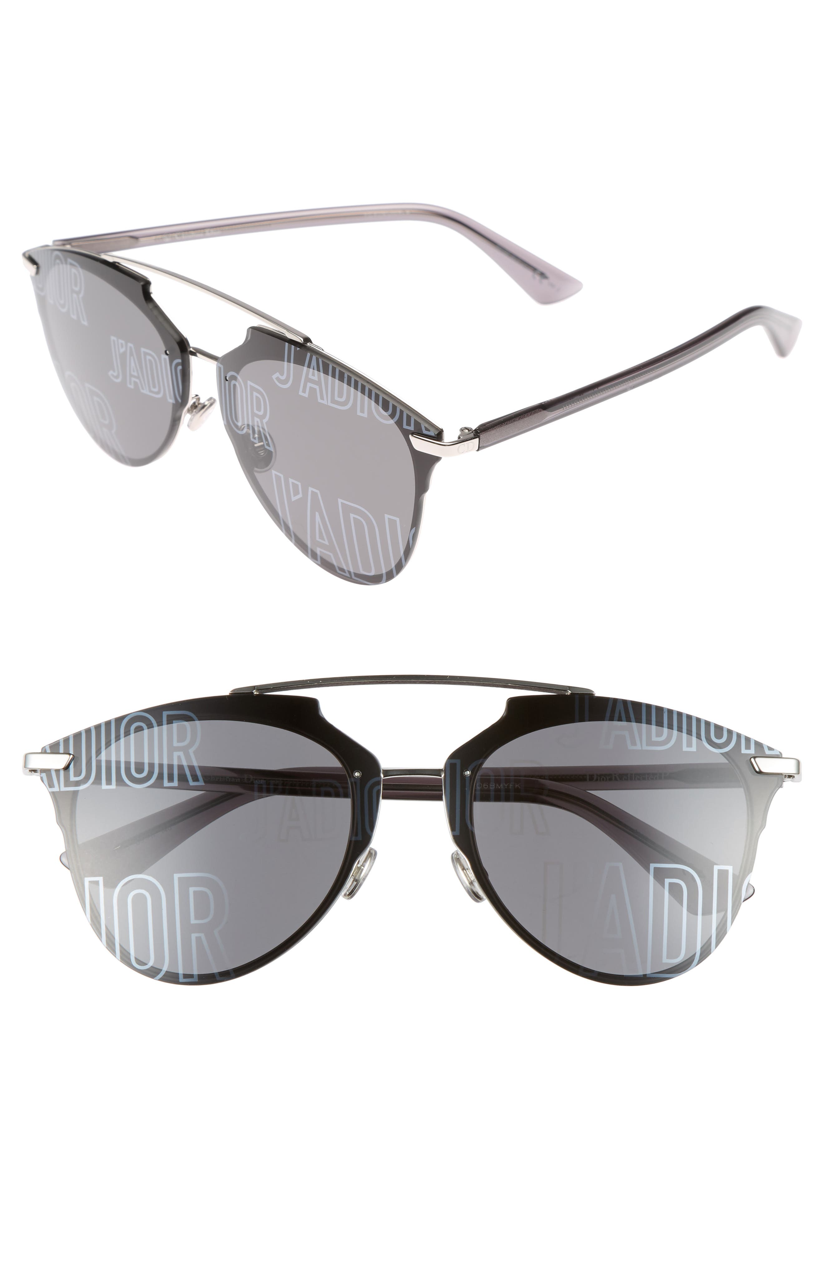 Reflected Prism 63mm Oversize Mirrored Brow Bar Sunglasses, Main, color, 047