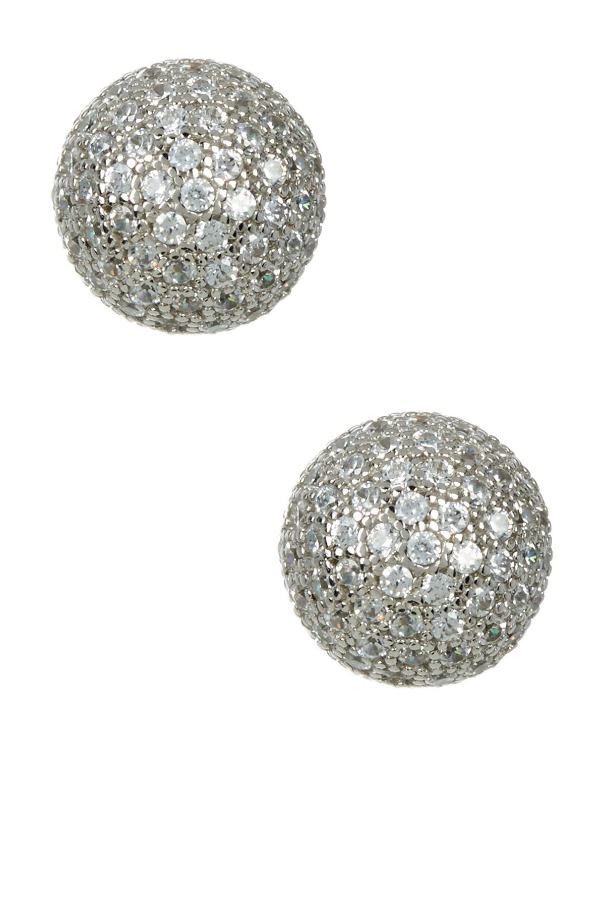 Image of Suzy Levian Sterling Silver CZ Ball Stud Earrings