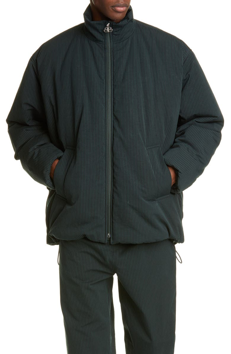 BALENCIAGA Cotton Cocoon Jacket, Main, color, BLACK/ CYPRESS GREEN