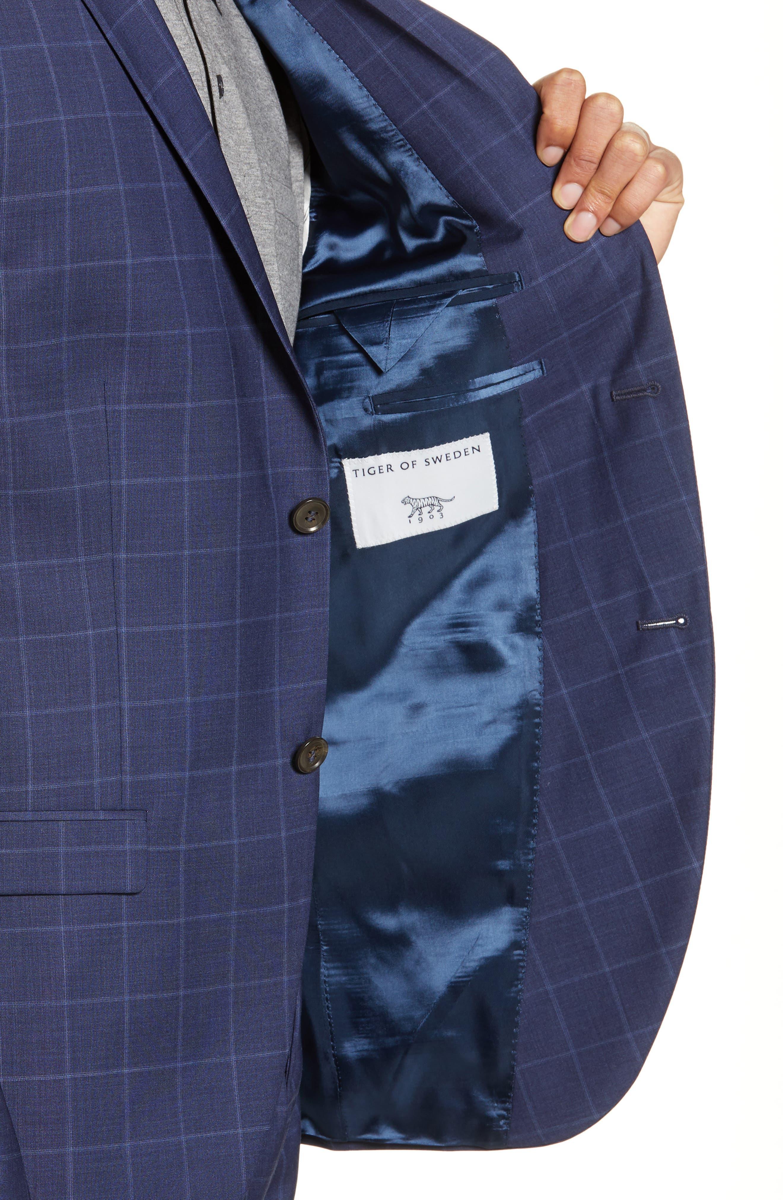 ,                             Jile Trim Fit Windowpane Wool Blazer,                             Alternate thumbnail 5, color,                             SOFT BLUE