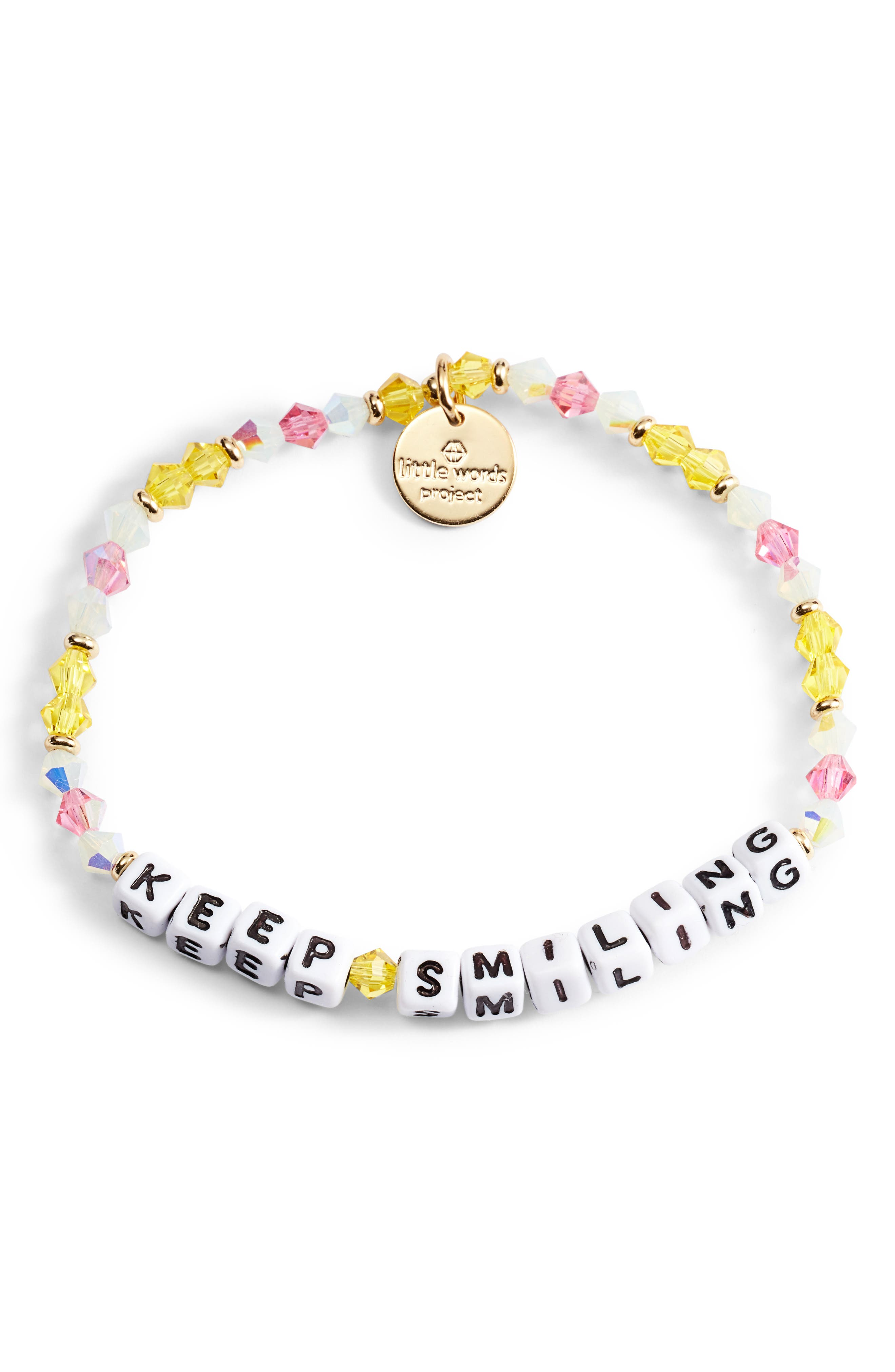 Keep Smiling Beaded Stretch Bracelet