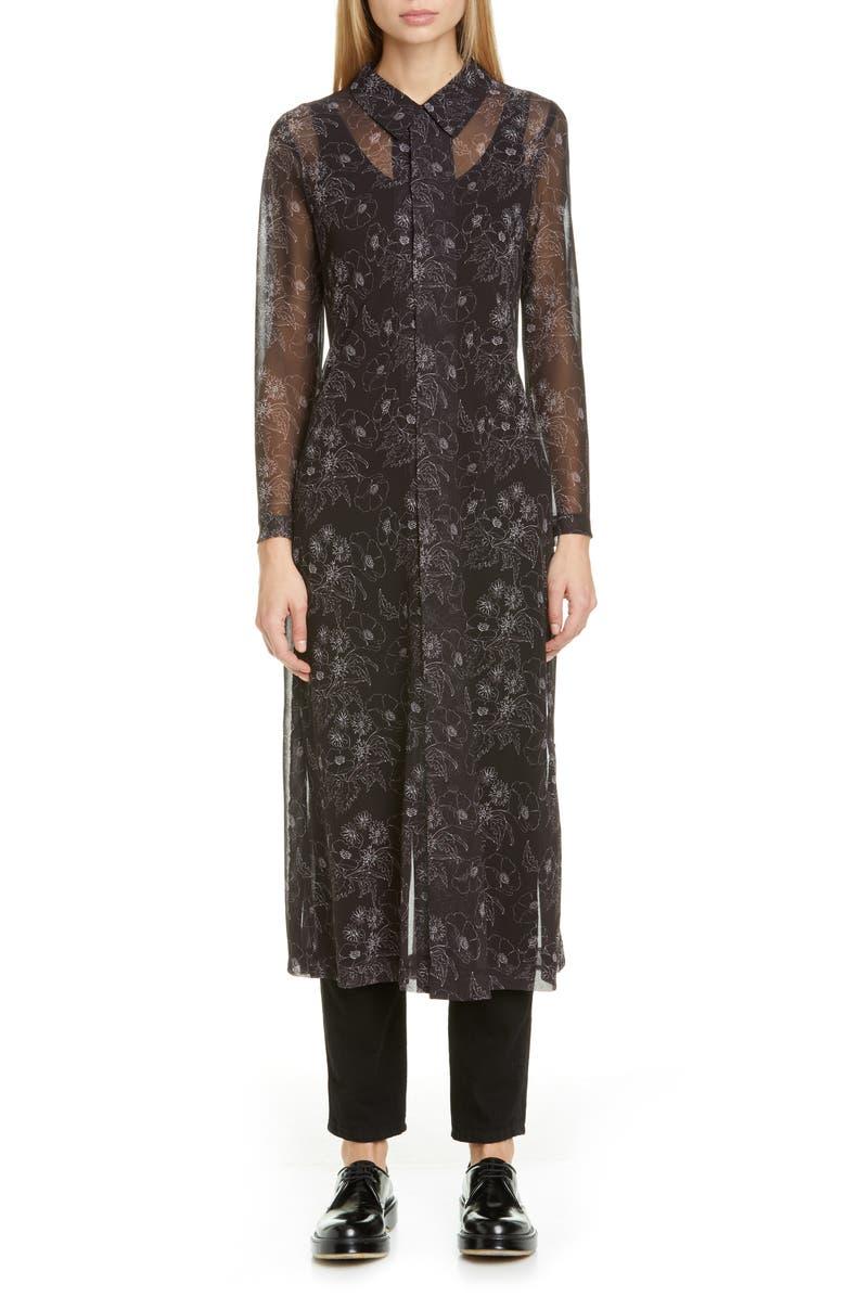 COMME DES GARÇONS Floral Print Georgette Long Sleeve Midi Shirtdress, Main, color, BLACK