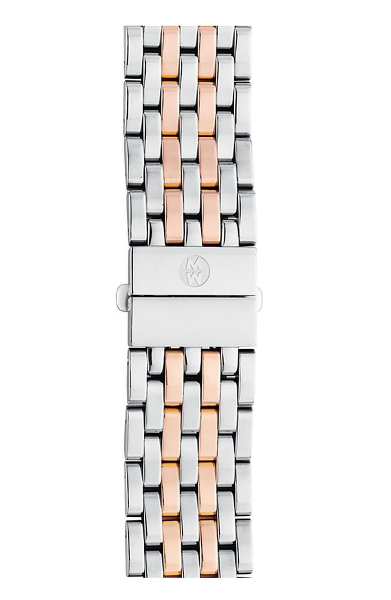 MICHELE Deco 18mm Bracelet Watchband, Main, color, SILVER/ ROSE GOLD