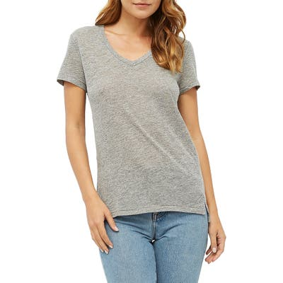 Junior Stateside Heathered Jersey V-Neck Tee, Grey