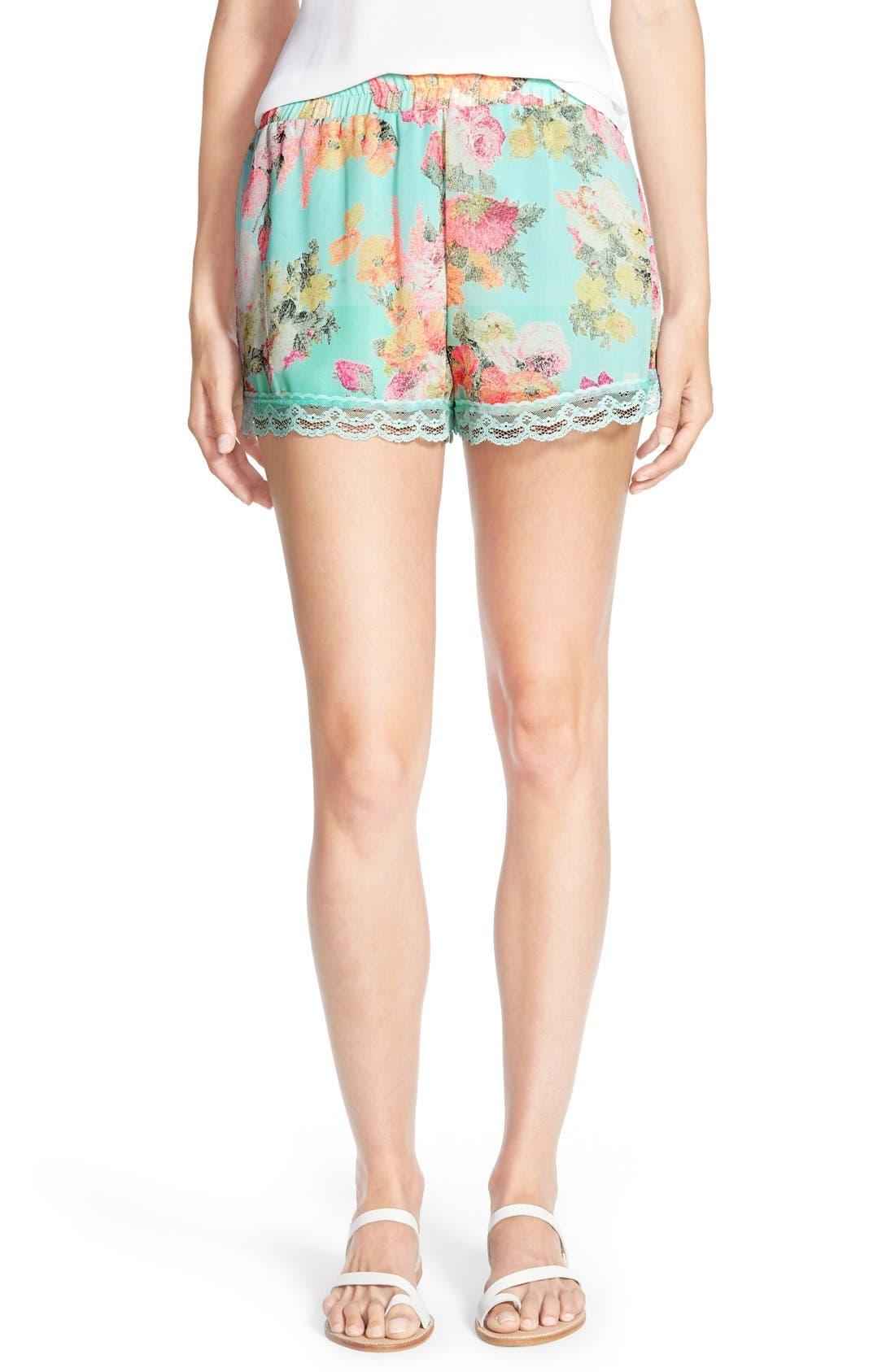 ,                             Lace Trim Floral Print Shorts,                             Main thumbnail 22, color,                             403