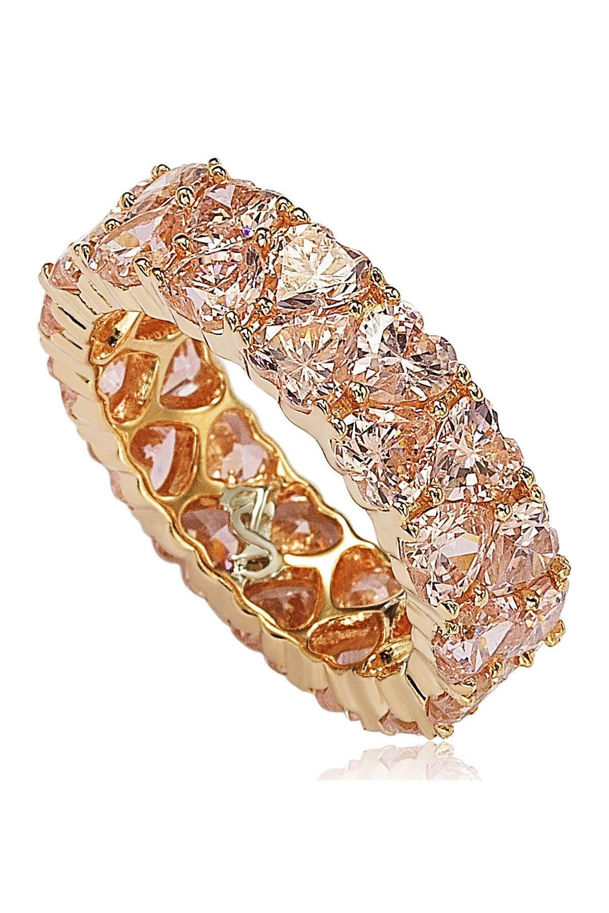 Image of Suzy Levian Rose-Tone Sterling Silver Heart CZ Band Ring