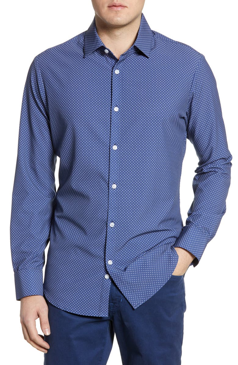 MIZZEN+MAIN Bellevue Navy Cross Print Shirt, Main, color, BLUE
