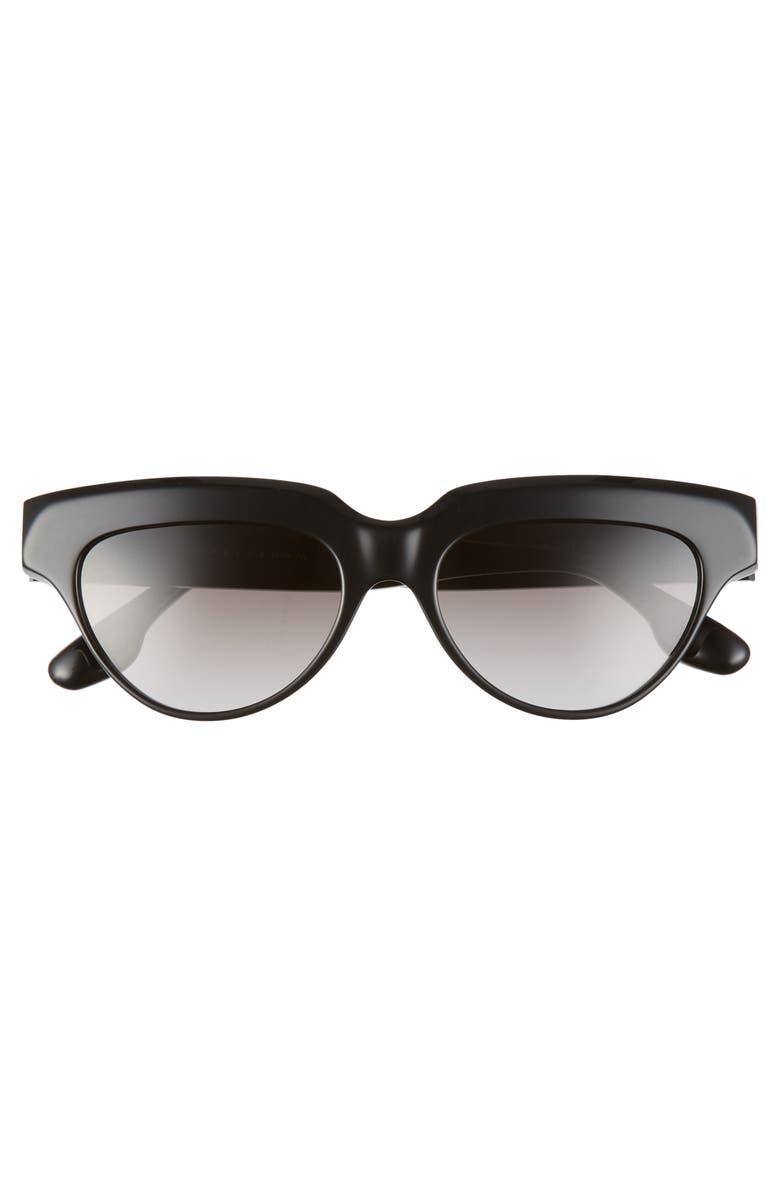 VICTORIA BECKHAM 53mm Gradient Cat Eye Sunglasses, Main, color, BLACK