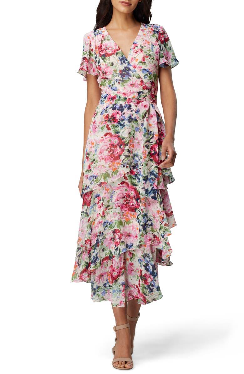 TAHARI Floral Print Ruffle Chiffon Midi Dress, Main, color, 695