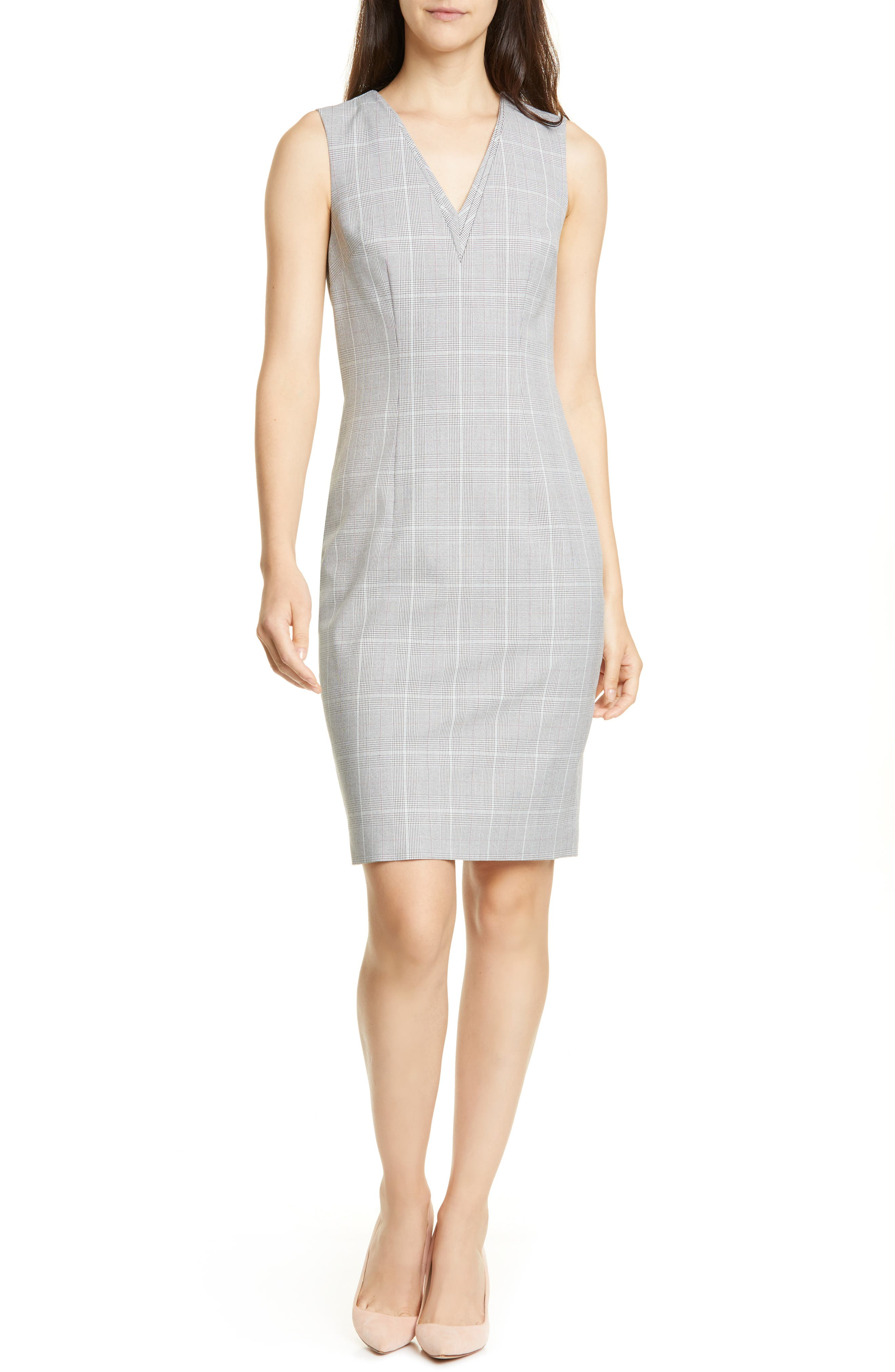 Ted Baker London Avriild Check V-Neck Sheath Dress, Grey