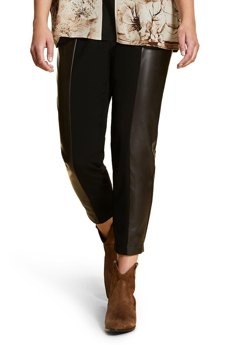 MARINA RINALDI Ravalle Faux Leather Panel Ankle Pants, Main, color, BLACK