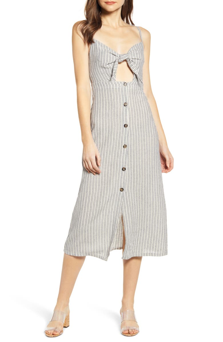 BISHOP + YOUNG Stripe Front Tie Midi Sundress, Main, color, GREY STRIPE