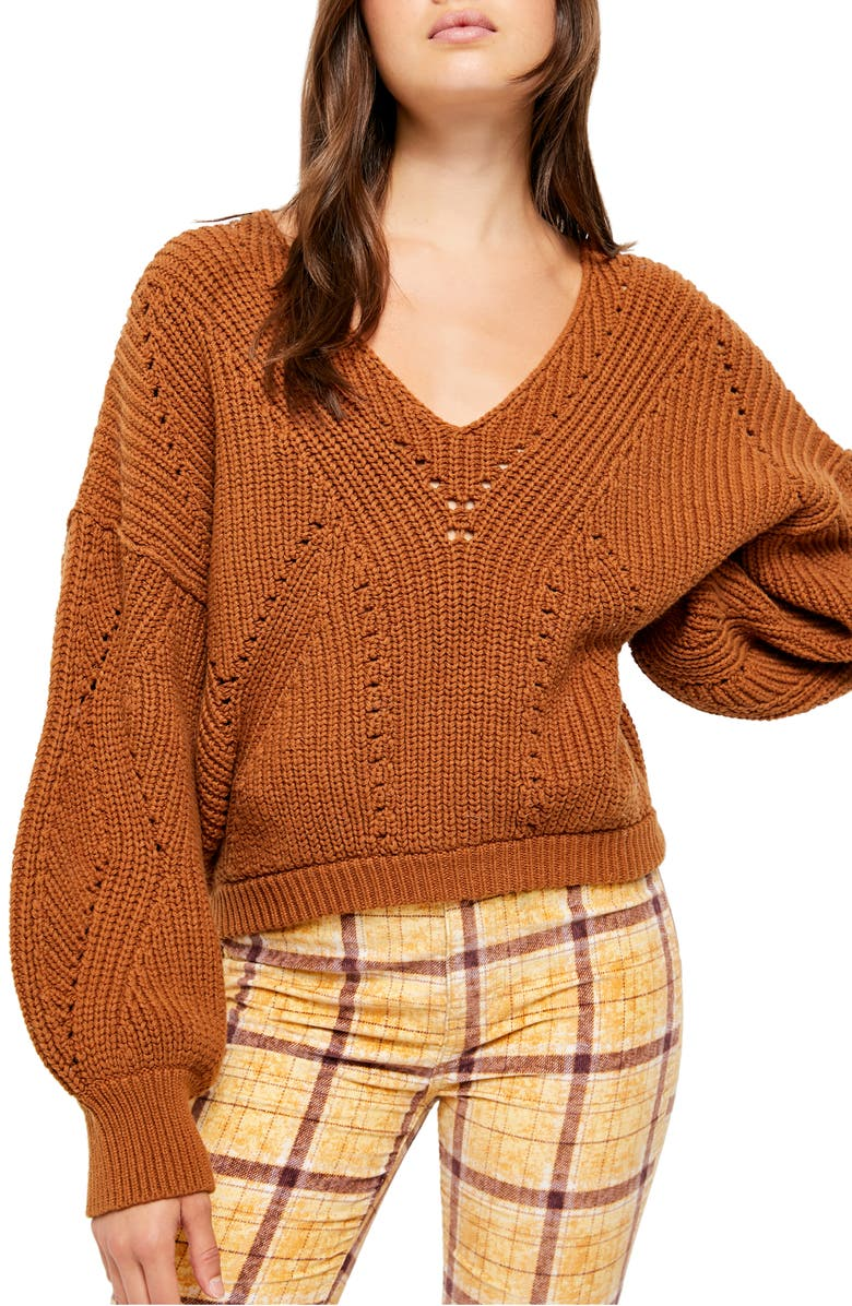 FREE PEOPLE All Day Long Sweater, Main, color, SAHARA