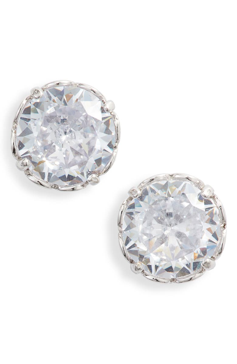 KATE SPADE NEW YORK that sparkle round stud earrings, Main, color, CLEAR/ SILVER