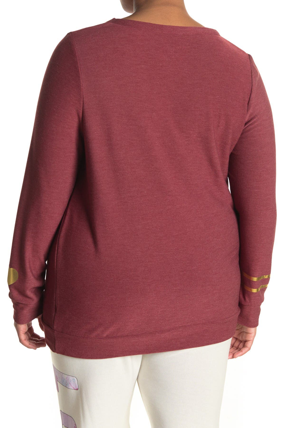 Image of Chaser Gold Heart Print Cozy Pullover Sweater