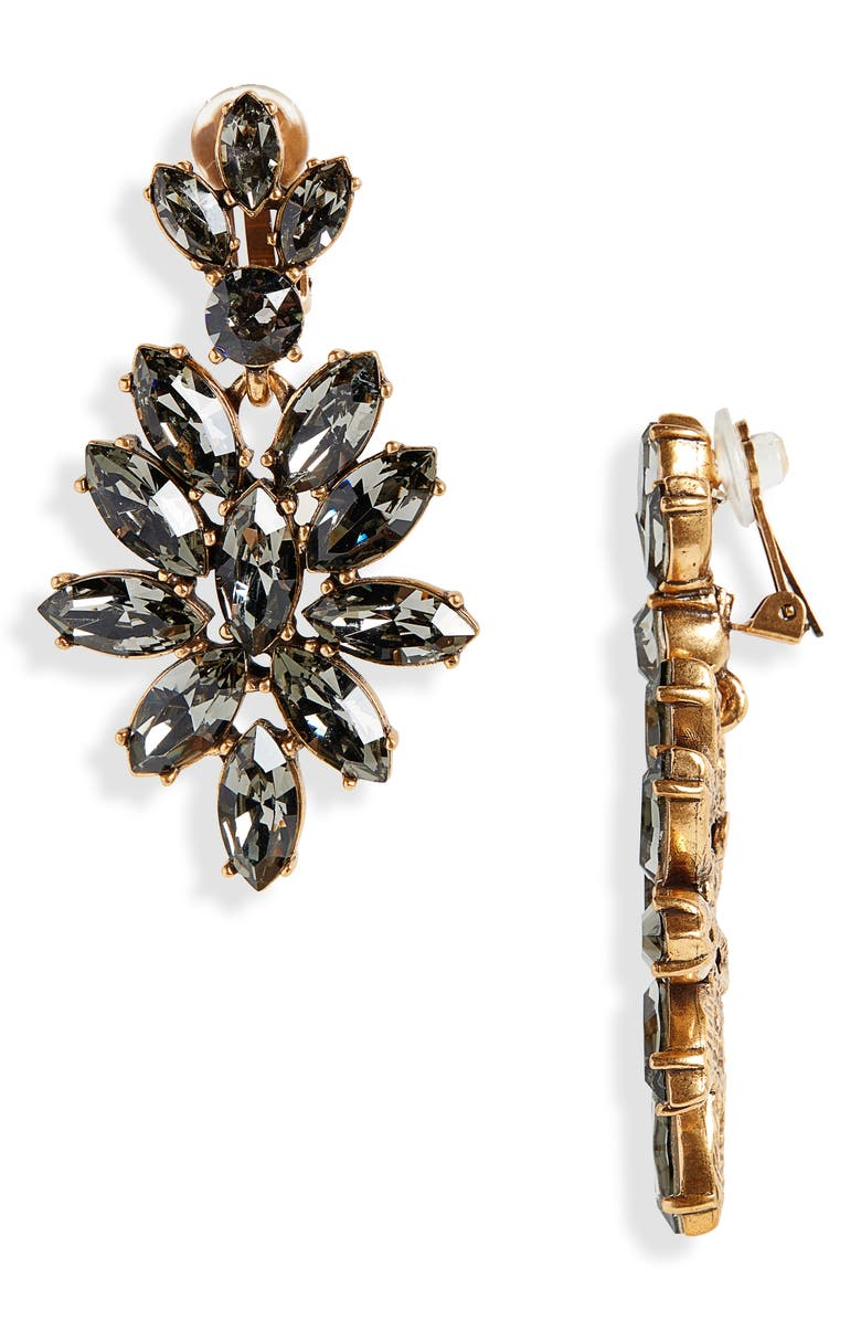 OSCAR DE LA RENTA Navette Crystal Earrings, Main, color, BLACK DIAMOND