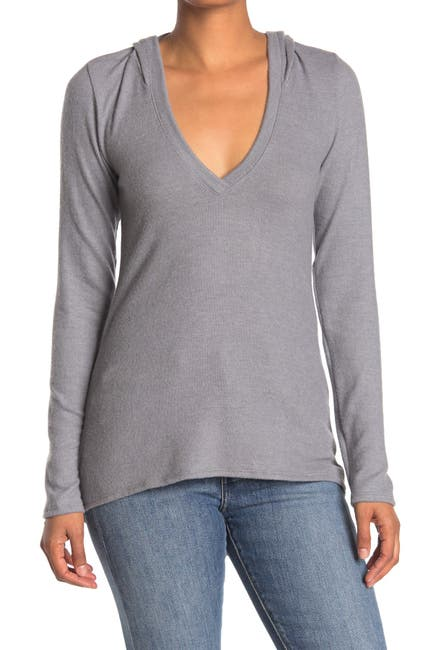 Image of Go Couture Deep V-Neck Hooded Top
