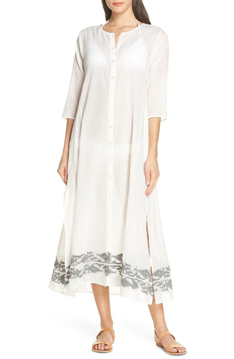 ROLLER RABBIT Jamdani Anu Cover-Up Dress, Main, color, 100