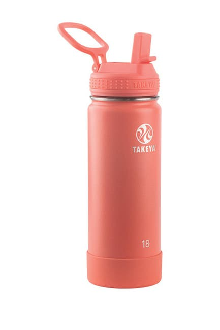 Image of Takeya Coral Actives Insulated 18 oz. Straw Lid Stainless Steel Bottle