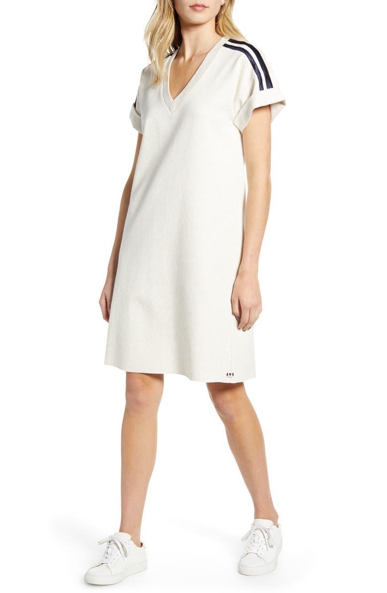 SCOTCH & SODA Sporty Stripe Sweat Dress, Main, color, ECRU MELANGE