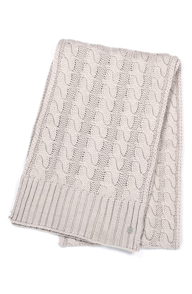 SOIA & KYO Cable Knit Scarf, Main, color, QUARTZ