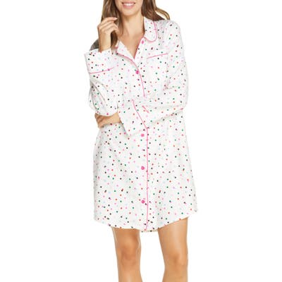 Ban. do Party Dots Flannel Nightgown, Ivory