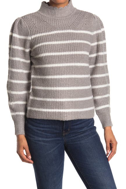 Image of FEMME BY DESIGN Scallop Mock Neck Striped Sweater