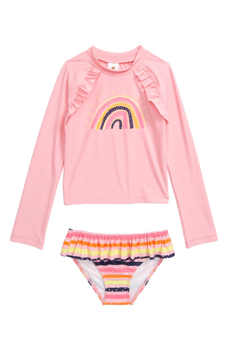 TUCKER + TATE Graphic Ruffle Two-Piece Rashguard Swimsuit Set, Main, color, PINK POWDER RAINBOW