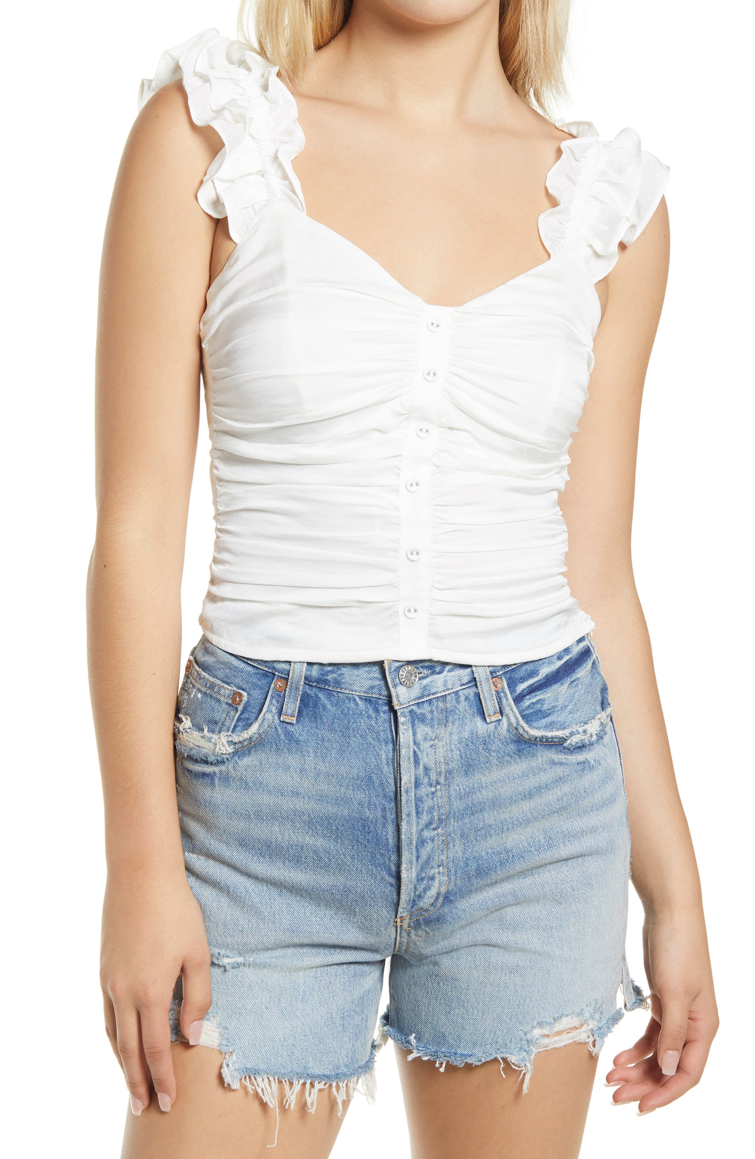 Ruched Ruffle Shoulder Tank
