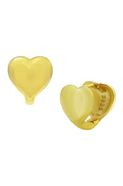 Image of Savvy Cie 18K Gold Vermeil Puffy Heart Huggie Hoop Earrings