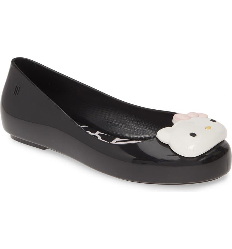 MEL BY MELISSA x Hello Kitty Space Love Flat, Main, color, BLACK/ WHITE