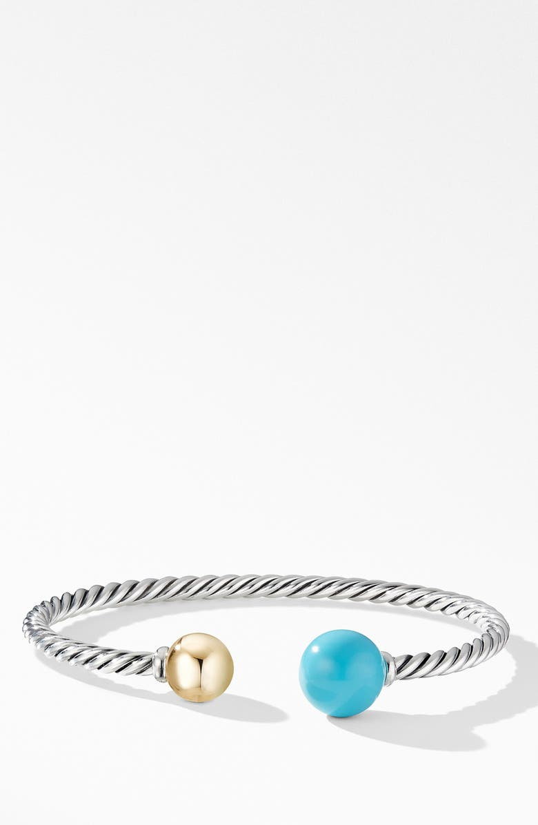 DAVID YURMAN Solari XL Cable Bracelet with Reconstituted Turquoise, Gold Dome and 14K Yellow Gold, Main, color, RECONSTITUTED TURQUOISE