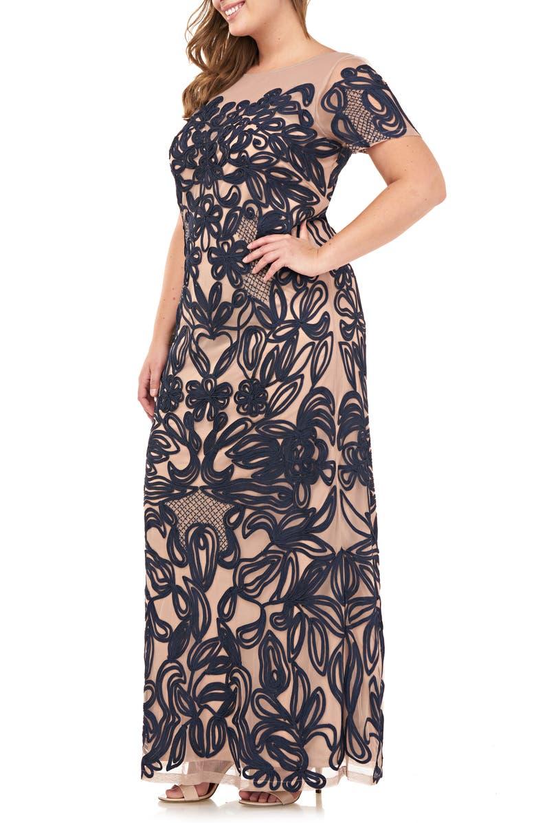 JS COLLECTIONS JS Collection Soutache Lace Illusion Gown, Main, color, NAVY BLUSH