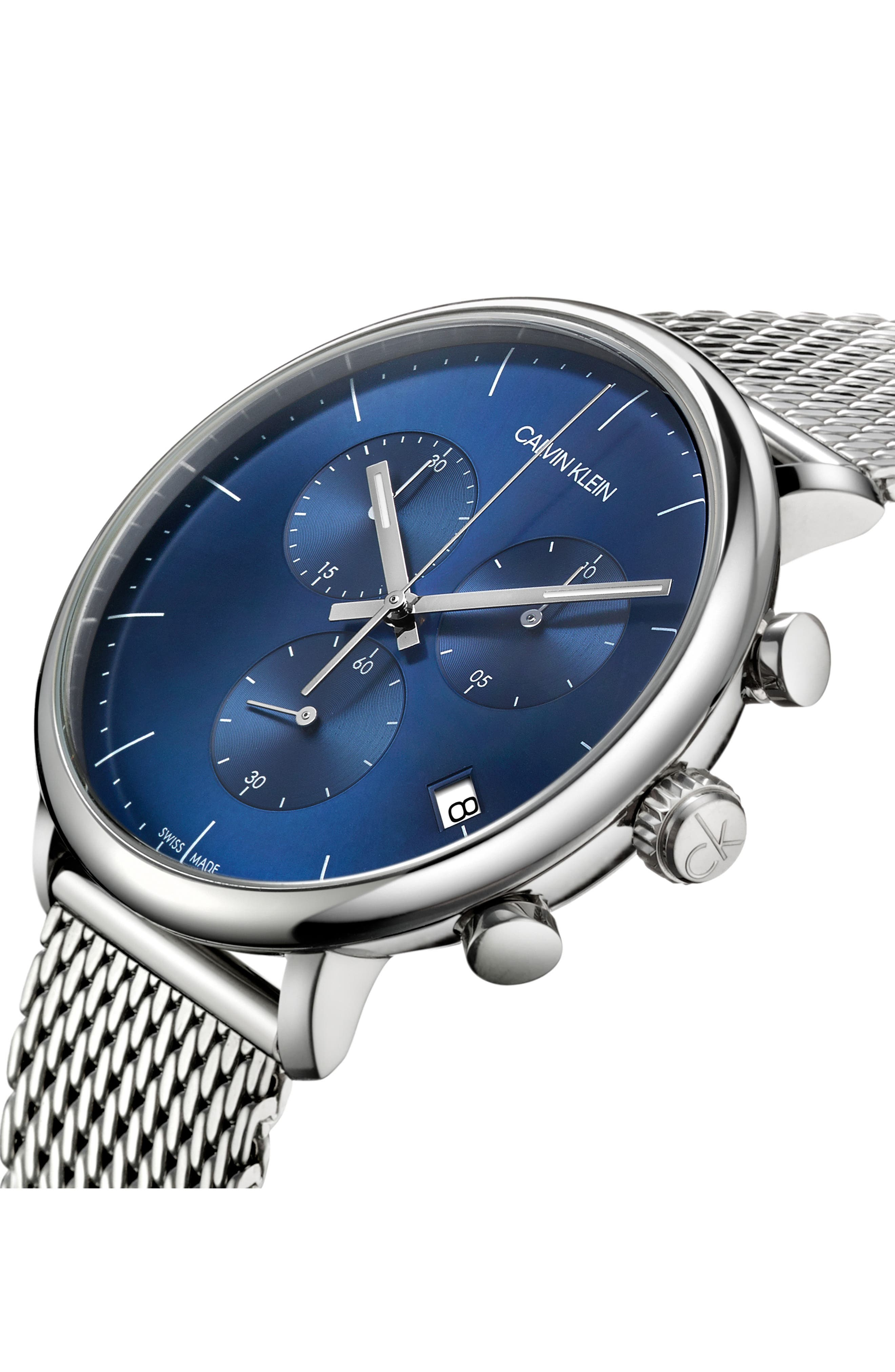 ,                             High Noon Chronograph Mesh Strap Watch, 43mm,                             Alternate thumbnail 4, color,                             SILVER/ BLUE/ SILVER