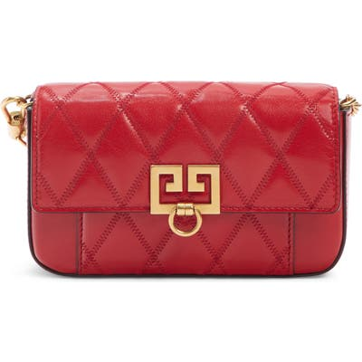 Givenchy Mini Pocket Quilted Convertible Leather Bag - Red