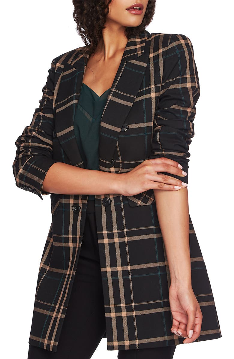 1.STATE Dynamite Plaid Ruched Sleeve Blazer, Main, color, RICH BLACK