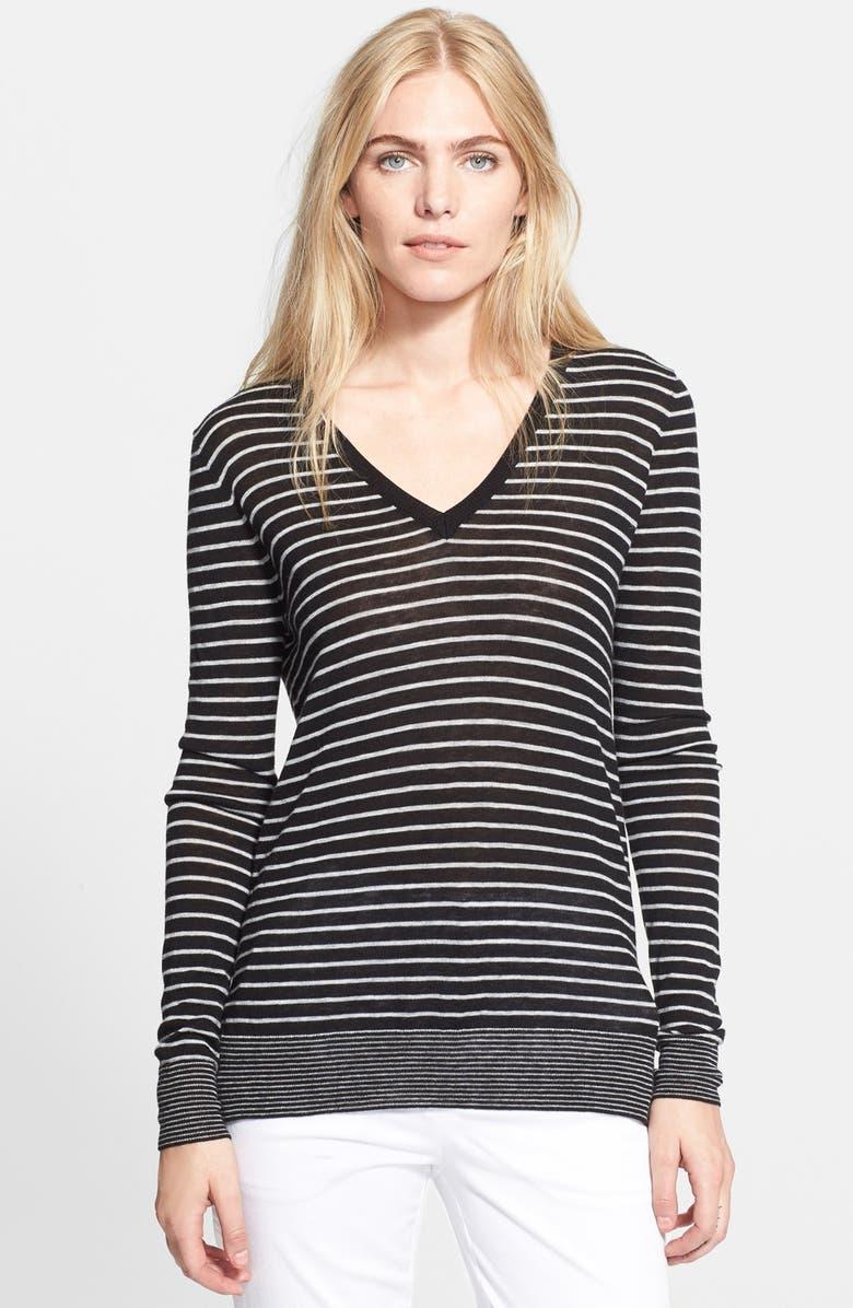 VINCE Mini Stripe Sweater, Main, color, 001