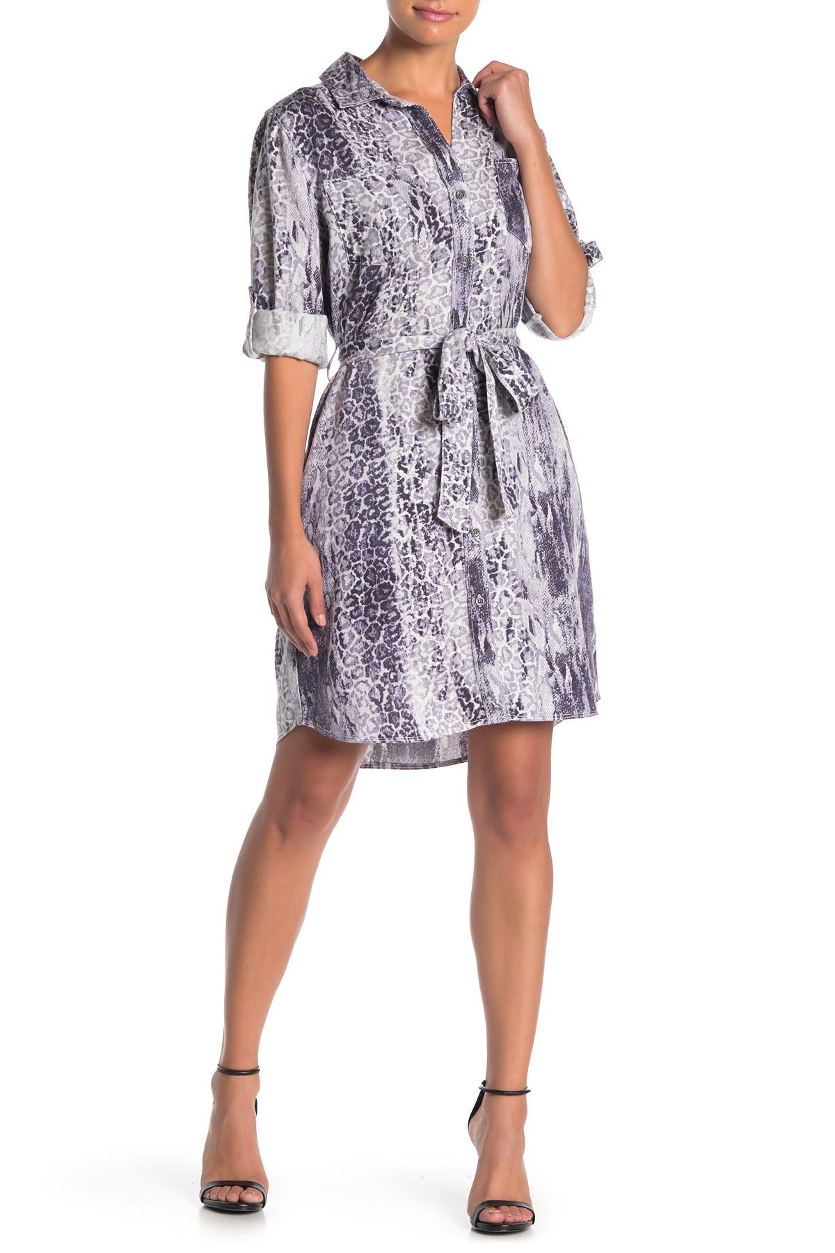 Image of Velvet Heart Anita Roll Tab Leopard & Snake Print Shirt Dress