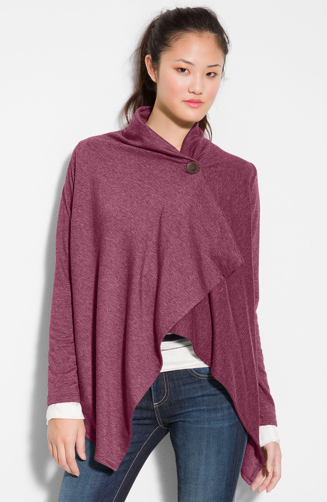 ,                             One-Button Fleece Wrap Cardigan,                             Main thumbnail 169, color,                             501