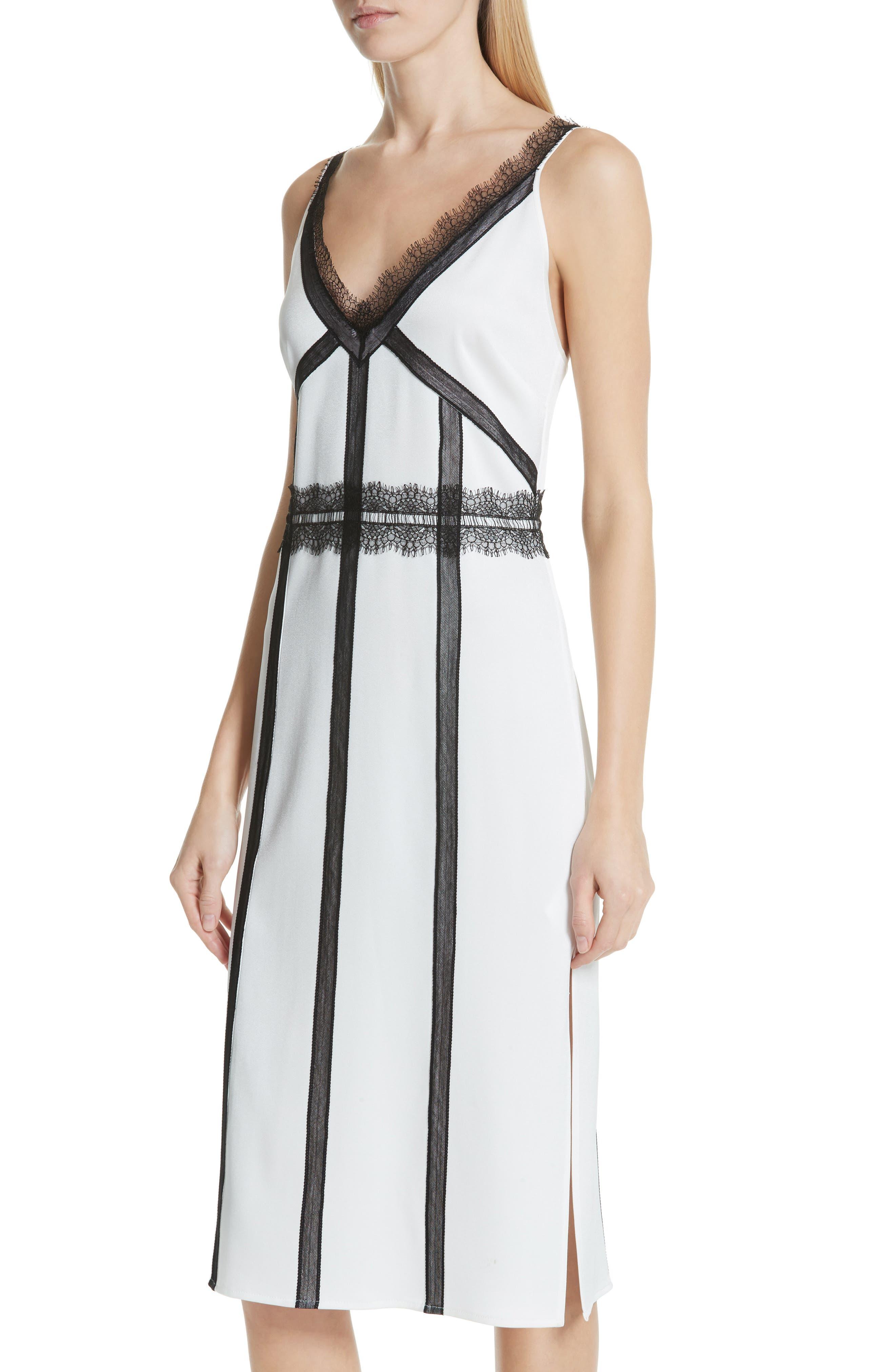 ,                             Crepe Back Satin Dress,                             Alternate thumbnail 5, color,                             COCONUT WHITE