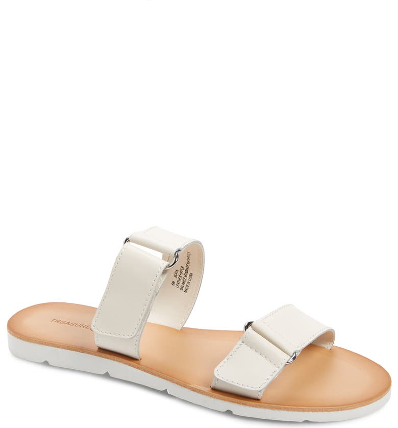 TREASURE & BOND Sofia Slide Sandal, Main, color, WHITE LEATHER